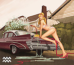 Woman washing a car with