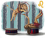 Illustrative image of lion jumping from ring representing Leo sign
