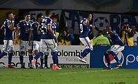 BOGOTA - COLOMBIA - 18 – 02 - 2018: Los jugadores de Millonarios, celebran el gol anotado Atletico Nacional, durante partido de la fecha 4 entre Millonarios y Atletico Nacional, por la Liga Aguila I 2018, jugado en el estadio Nemesio Camacho El Campin de la ciudad de Bogota. / The players of Millonarios celebrate the scored goal to Atletico Nacional, during a match of the 4th date between Millonarios and Atletico Nacional, for the Liga Aguila I 2018 played at the Nemesio Camacho El Campin Stadium in Bogota city, Photo: VizzorImage / Luis Ramirez / Staff.