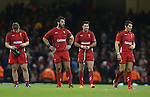 Dejected Welsh players at the final whistle <br /> Dove men Series 2014<br /> Wales v New Zealand<br /> 22.11.14<br /> ©Steve Pope -SPORTINGWALES
