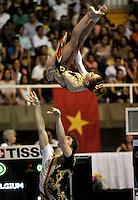 CALI – COLOMBIA – 29-07-2013: Nicolas Vleehouwers y Laure De Pryck de Belgica durante competencia Gimnasia Acrobática Parejas Mixtas Clasificación Dinámico en los IX Juegos Mundiales Cali, julio 29 de 2013. (Foto: VizzorImage / Luis Ramirez / Staff). Nicolas Vleehouwers y Laure De Pryck from Belgium in Acrobatic Gymnastics Mixed Pairs Dynamic Classification in the IX World Games Cali, July 29, 2013. (Photo: VizzorImage / Luis Ramirez / Staff).