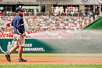 8 July 2017: A member of the Washington Nationals Grounds Crew prepares the infield for play prior to a game against the Atlanta Braves at Nationals Park in Washington, DC. The Braves shut out the Nationals 13-0 to take the third game of their 4-game series. Mandatory Credit: Ed Wolfstein Photo *** RAW (NEF) Image File Available ***