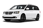 Stock pictures of low aggressive front three quarter view of 2019 Dodge Grand-Caravan GT 5 Door Minivan Low Aggressive