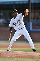 Asheville Tourists starting pitcher Carlos Polanco (18) delivers a pitch during a game against the Savannah Sand Gnats on June 2, 2015 in Asheville, North Carolina. The Sand Gnats defeated the Tourists 4-1. (Tony Farlow/Four Seam Images)