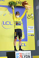 12th September 2020; Lyon, France;  TOUR DE FRANCE 2020- UCI Cycling World Tour during covid-19 pandemic. Stage 14 from Clermont-Ferrand to Lyon on the 12th of September. Primoz Roglic Slovenia Team Jumbo - Visma  at the podium.