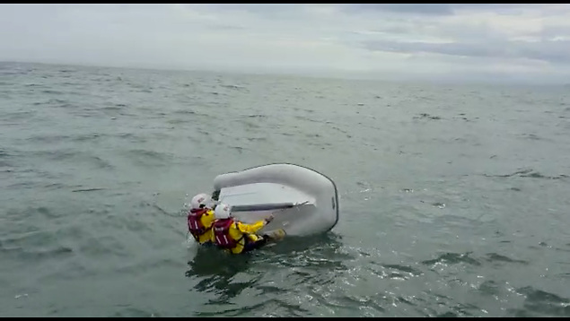 Howth RNLI volunteer lifeboat crew righted the upturned vessel and took the RIB in tow to the safety of Howth harbour