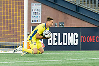 FOXBOROUGH, MA - SEPTEMBER 04: Joe Rice #51 of New England Revolution II saves a shot on goal during a game between Forward Madison FC and New England Revolution II at Gillette Stadium on September 04, 2020 in Foxborough, Massachusetts.