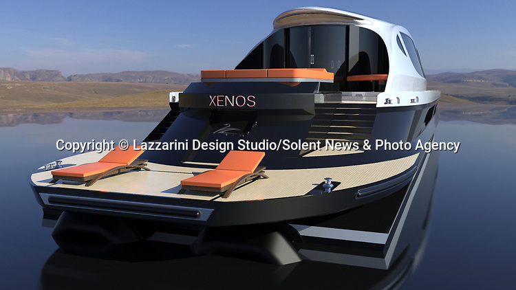 Pictured: Exterior view of the Xenos<br /> <br /> The world's first £52 million hyper yacht concept has been created - and it comes with a free £4 million Bugatti Chiron supercar.  The Xenos will have 15,000 horsepower, and be able to hit a top speed of more than 100mph, according to its creators at Lazzarini Design Studio.<br /> <br /> The 130ft-long Xenos would be made of aluminium and carbon and is said to be 'designed for comfortable high speed cruises.'  The sleek, black and chrome yacht has auto tinting windows, as well as roof mounted solar panels, and will also be available as an electric powered model.  SEE OUR COPY FOR DETAILS.<br /> <br /> Please byline: Lazzarini Design Studio/Solent News<br /> <br /> © Lazzarini Design Studio/Solent News & Photo Agency<br /> UK +44 (0) 2380 458800
