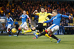 Martyn Waghorn is closed down by Declan Gallagher as the Rangers striker has a shot