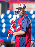 11 March 2014: Washington Nationals infielder Jeff Kobernus awaits his turn in the batting cage prior to a Spring Training game against the New York Yankees at Space Coast Stadium in Viera, Florida. The Nationals defeated the Yankees 3-2 in Grapefruit League play. Mandatory Credit: Ed Wolfstein Photo *** RAW (NEF) Image File Available ***