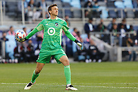 SAINT PAUL, MN - MAY 15: Tyler Miller #1 of Minnesota United FC tosses the ball during a game between FC Dallas and Minnesota United FC at Allianz Field on May 15, 2021 in Saint Paul, Minnesota.