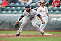 Corpus Christi Hooks first baseman Jon Singleton (21) during a game against the Springfield Cardinals on May 31, 2017 at Hammons Field in Springfield, Missouri.  Springfield defeated Corpus Christi 5-4.  (Mike Janes/Four Seam Images)