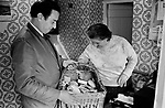Delivery driver local shop keeper delivers sandwiches to local villagers Gloucestershire 1970s Britain UK. Village life 1975 The Cotswolds, Lower and Upper Slaughter are twin villages on the River Eye and are know as The Slaughters.