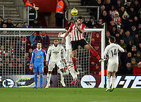Pictured: Graziano Pelle of Southampton heads the ball Sunday 01 February 2015<br />