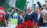 LOUISVILLE, KY - MAY 06: Winning jockey John Velazquaz douses winning connections with champagne after Always Dreaming #5 won the Kentucky Derby on Kentucky Derby Day at Churchill Downs on May 6, 2017 in Louisville, Kentucky. (Photo by Candice Chavez/Eclipse Sportswire/Getty Images)