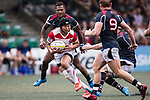 Kanta Shikao of Japan (L) in action during the Asia Rugby Championship 2017 match between Hong Kong and Japan on May 13, 2017 in Hong Kong, Hong Kong. (Photo by Cris Wong / Power Sport Images)