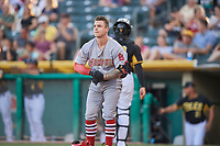Tyler O'Neill (13) of the Memphis Redbirds during the game against the Salt Lake Bees at Smith's Ballpark on July 24, 2018 in Salt Lake City, Utah. Memphis defeated Salt Lake 14-4. (Stephen Smith/Four Seam Images)