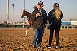 MEYDAN,DUBAI-MARCH 25: California Chrome and his trainer,Art Sherman, at Meydan Racecourse on March 25,2016 in Meydan,Dubai (Photo by Kaz Ishida)