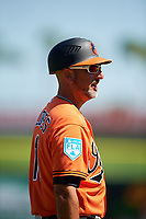 Baltimore Orioles third base coach Jose David Flores (11) during a Grapefruit League Spring Training game against the Philadelphia Phillies on February 28, 2019 at Spectrum Field in Clearwater, Florida.  Orioles tied the Phillies 5-5.  (Mike Janes/Four Seam Images)