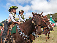Keiki (or child, or children) pa'u riders before the Waimea Paniolo Parade, Big Island.