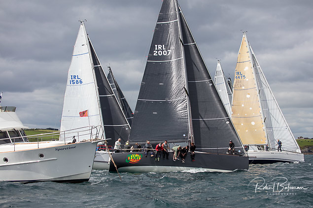 Jump Juice (Conor Phelan) takes the Committee Boat end of the start of the third race of the coastal fleet of the 2021 Sovereign's Cup at Kinsale. The custom Ker 37 from Royal Cork leads the largest fleet of the event overall going into the final race on Saturday