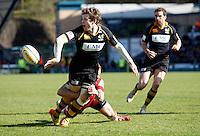 Photo: Richard Lane/Richard Lane Photography. London Wasps v Gloucester Rugby. Aviva Premiership. 01/04/2012. Wasps' Elliot Daly delivers the pass for Hugo Southwell's try.