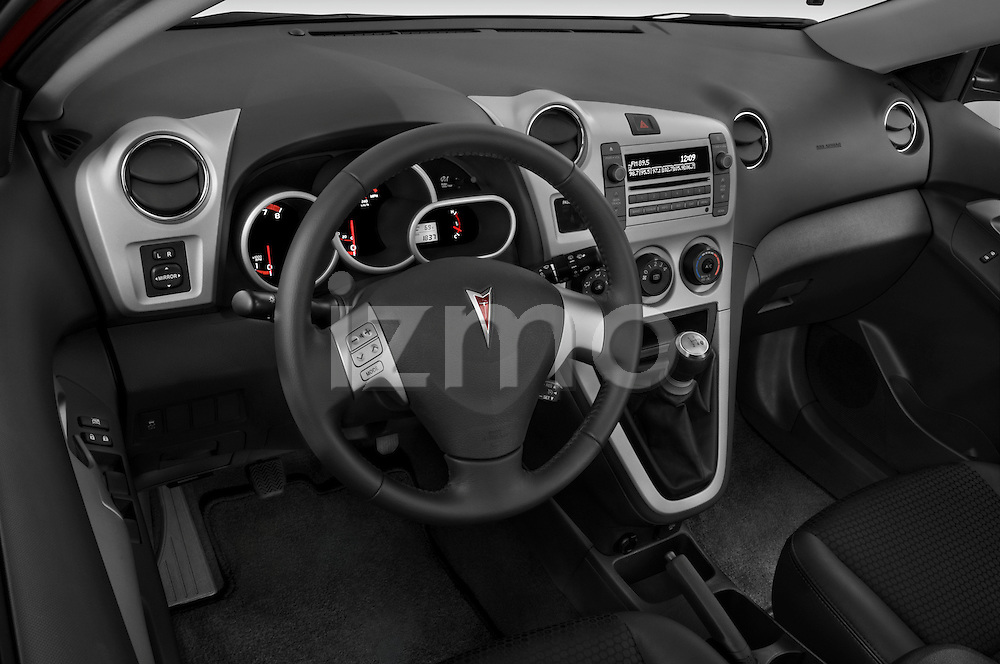 High angle dashboard view of a 2009 Pontiac Vibe GT