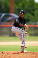 GCL Marlins pitcher Luis Palacios (33) during a Gulf Coast League game against the GCL Mets on August 11, 2019 at St. Lucie Sports Complex in St. Lucie, Florida.  The Marlins defeated the Mets 3-2 in the second game of a doubleheader.  (Mike Janes/Four Seam Images)