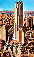 New York City: Rockefeller Center, View. Definitive Scheme. KOOLHAAS, 167. Reference only.