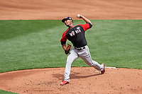 World Team pitcher Jarlin Garcia (33) in action during the MLB All-Star Futures Game on July 12, 2015 at Great American Ball Park in Cincinnati, Ohio.  (Mike Janes/Four Seam Images)