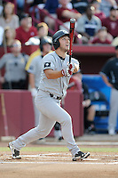 Designated hitter Max Schrock (22) of the South Carolina Gamecocks bats in an NCAA Division I Baseball Regional Tournament game against the Maryland Terrapins on Saturday, May 31, 2014, at Carolina Stadium in Columbia, South Carolina. Maryland won, 4-3. (Tom Priddy/Four Seam Images)