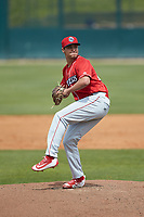 Lakewood BlueClaws relief pitcher Julian Garcia (24) in action against the Kannapolis Intimidators at Kannapolis Intimidators Stadium on April 8, 2018 in Kannapolis, North Carolina.  The Intimidators defeated the BlueClaws 5-1 in game one of a double-header.  (Brian Westerholt/Four Seam Images)