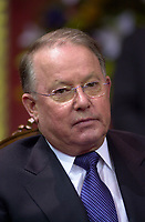 Quebec (QC) CANADA -March 8 2001 file photo -<br /> Bernard Landry is sworm as Quebec Premier, replacing Lucien Bouchard who also stepped down as PQ leader<br /> ,Bernard Landry