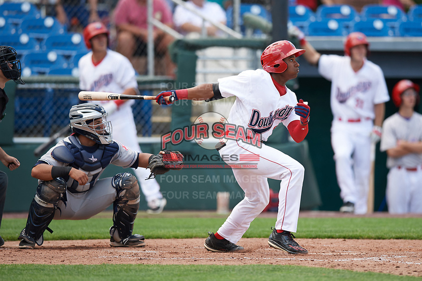 Auburn Doubledays center fielder Armond Upshaw (8) at bat in front of catcher Gian Paul Gonzalez during the first game of a doubleheader against the Mahoning Valley Scrappers on July 2, 2017 at Falcon Park in Auburn, New York.  Mahoning Valley defeated Auburn 3-0.  (Mike Janes/Four Seam Images)