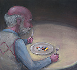 Illustration image of elderly man with medication in plate