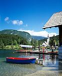 Slovenia, Gorenjska, Slovenian Corinthia, Lake Bohinj (Bohinjsko jezero) at Triglav-National Park, church of St. John (the Baptist), boat rental