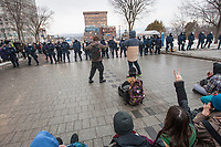 Protesters and police stand their ground during a protest against austerity organized by the ASSE student group in Quebec city Thursday March 26, 2015.<br /> <br /> PHOTO :  Francis Vachon - Agence Quebec Presse