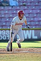 David Jacob (23) of the Vancouver Canadians bats against the Salem-Keizer Volcanoes at Volcanoes Stadium on July 24, 2017 in Keizer, Oregon. Salem-Keizer defeated Vancouver, 4-3. (Larry Goren/Four Seam Images)