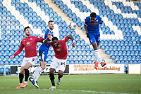 Michael Folivi, Colchester United scores the equaliser for the hosts during Colchester United vs Morecambe, Sky Bet EFL League 2 Football at the JobServe Community Stadium on 19th December 2020