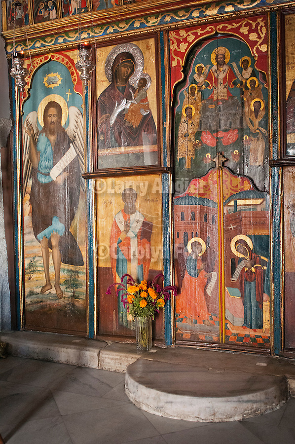 Iconostasis in interior of small Greek Orthodox chapel, Agios Taxiarchis (Archangels Michael or Gabriel), Naoussa, Greece.