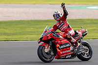 28th August 2021; Silverstone Circuit, Silverstone, Northamptonshire, England; MotoGP British Grand Prix, Qualifying Day; Ducati Lenovo Team rider Jack Miller on his Ducati Desmosedici GP21 waves to the fans as he goes fastest in FP3
