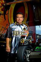 Oct. 31, 2008; Las Vegas, NV, USA: NHRA funny car driver Tony Pedregon poses for a portrait during qualifying for the Las Vegas Nationals at The Strip in Las Vegas. Mandatory Credit: Mark J. Rebilas-