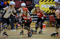 Action from Roller Derby Triple header - Richter City v Pirate City v Paradise City at TSB Arena, Wellington, New Zealand on Saturday 10 May 2014. <br /> Photo by Masanori Udagawa. <br /> www.photowellington.photoshelter.com.