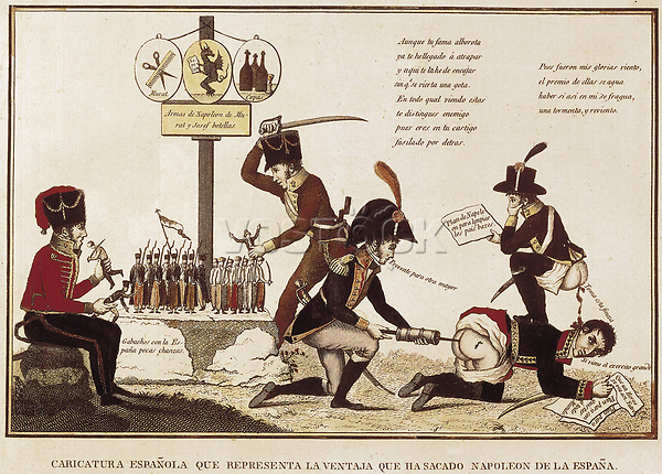Spain (1808-1814). Peninsular War. Caricature of the benefits obtained by Napoleon in Spain. Engraving. SPAIN. Madrid. Municip