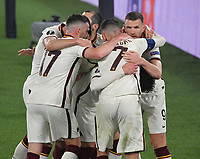 Football: Europa League - quarter final 2nd leg AS Roma vs Ajax, Olympic Stadium. Rome, Italy, March 15, 2021.<br /> Roma's Edin Dzeko (R) celebrates after scoring with his teammates during the Europa League football match between Roma at Rome's Olympic stadium, Rome, on April 15, 2021.  <br /> UPDATE IMAGES PRESS/Isabella Bonotto