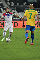 2nd July 2021; Nilton Santos Stadium, Rio de Janeiro, Brazil; Copa America, Brazil versus Chile; Arturo Vidal of Chile is covered by Brazils Richarlison