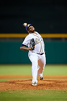 Montgomery Biscuits relief pitcher Jose Alvarado (46) delivers a pitch during a game against the Mississippi Braves on April 26, 2017 at Montgomery Riverwalk Stadium in Montgomery, Alabama.  Montgomery defeated Mississippi 5-2.  (Mike Janes/Four Seam Images)