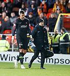 30.11.2018 Dundee Utd v Ayr Utd: Keeper Benjamin Siegrist goes off injured