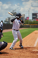 GCL Yankees West catcher David Vergel (5) at bat during the second game of a doubleheader against the GCL Yankees East on July 19, 2017 at the Yankees Minor League Complex in Tampa, Florida.  GCL Yankees West defeated the GCL Yankees East 3-1.  (Mike Janes/Four Seam Images)