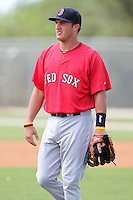 Boston Red Sox third baseman Nick Moore #17 during an Instructional League game against the Minnesota Twins at Red Sox Minor League Training Complex in Fort Myers, Florida;  October 3, 2011.  (Mike Janes/Four Seam Images)